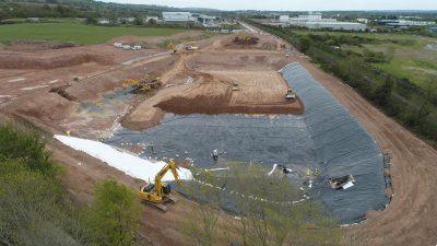 Geoline Installing Attenuation Pond Liner